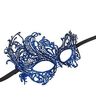 Синяя кружевная маска на пол лица. 3203