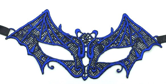 Синяя кружевная маска летучая мышь