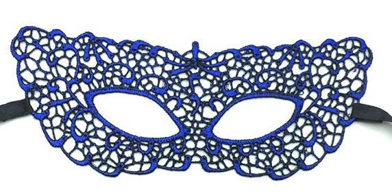 Синяя кружевная маска 3206