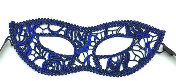 Синяя кружевная маска 3207