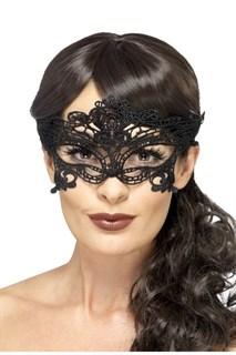 Серебристая широкая кружевная маска на глаза - фото 15607