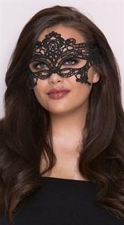Серебристая широкая кружевная маска на глаза - фото 15608