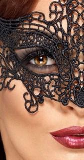 Серебристая широкая кружевная маска на глаза - фото 15611