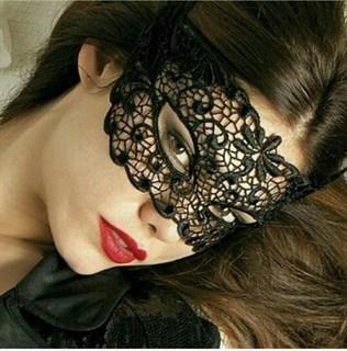 Шикарная черная кружевная маска. Серебро - фото 15633