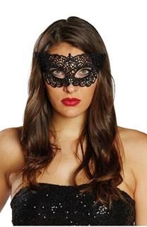 Шикарная черная кружевная маска. Серебро - фото 15634