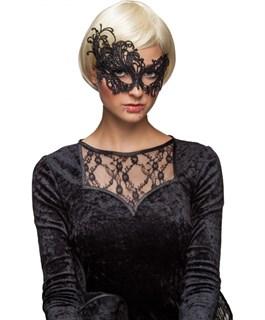 Шикарная ассиметричная кружевная маска. Серебро - фото 15637
