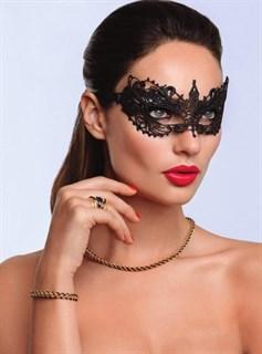 Кружевная маска бабочка. Золотая - фото 15644