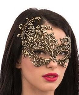 Шикарная ассиметричная кружевная маска. Золотая