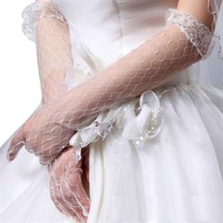 Прозрачные перчатки до локтя. Белые