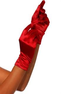 Красные атласные короткие перчатки