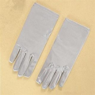 Атласные короткие перчатки. Серые