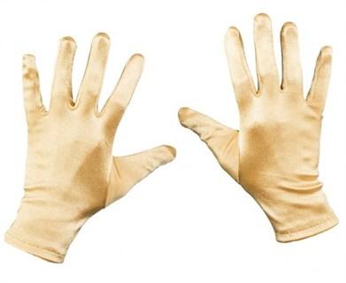 Атласные короткие перчатки. Золотые