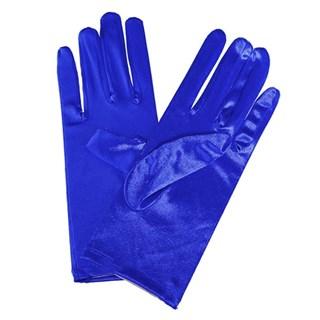 Атласные короткие перчатки. Синий электрик