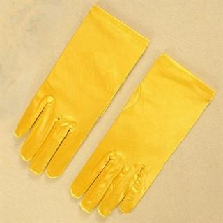 Атласные короткие перчатки. Желтые