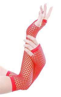 Перчатки в сетку без пальцев. Красные