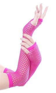 Перчатки в сетку без пальцев. Фуксия - фото 15767