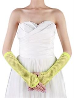 Перчатки в сетку без пальцев. Лимонный желтый