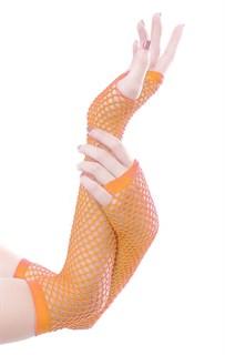 Перчатки в сетку без пальцев. Оранжевый