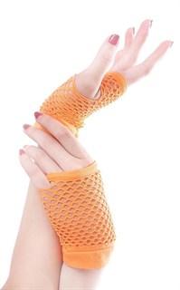Короткие перчатки в сетку без пальцев. Оранжевый