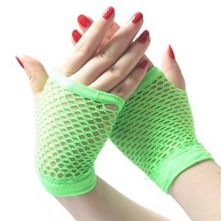 Короткие перчатки в сетку без пальцев. Салатовый неон