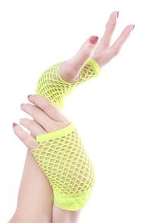 Короткие перчатки в сетку без пальцев. Лимонный желтый