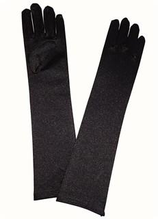 8-13 лет. Атласные детские перчатки. Черные