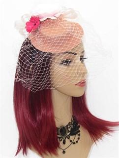 Персиковая шляпка с вуалью и цветком Фелисити