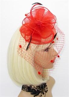 Шляпка из регилина с вуалью и перьями Алексия. Красная - фото 15908
