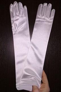 8-13 лет. Атласные детские перчатки. Белые