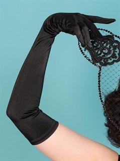 Длинные черные атласные перчатки - фото 15943