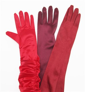 Длинные атласные перчатки цвета марсала. 50 и 55 см - фото 15945