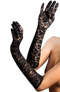 Длинные перчатки черный гипюр.