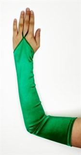 Длинные атласные перчатки на один палец. Зеленый