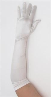Длинные белые атласные перчатки. 50, 55 и 65 см - фото 15956