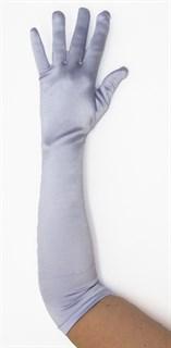 Длинные светло-сиреневые атласные перчатки. 50 см