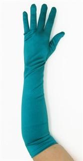 Длинные атласные перчатки цвета морской волны. 50 см