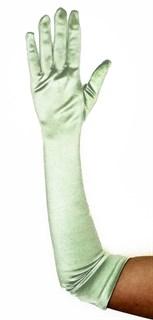 Длинные атласные светло-зеленые перчатки. 50 см