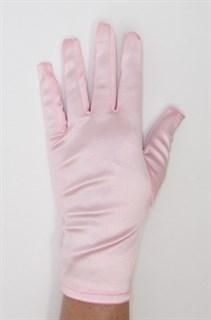 Атласные короткие перчатки. Светло-розовые
