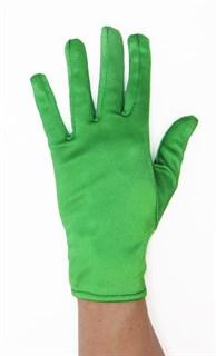 Атласные короткие перчатки. Зеленый