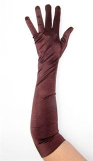 Длинные коричневые атласные перчатки. 50 и 55 см
