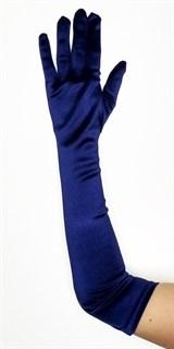 Длинные атласные темно-синие перчатки. 50 и 55 см