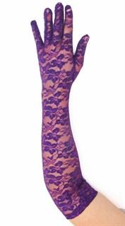 Длинные перчатки гипюр  Фиолетовые