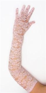 Длинные перчатки гипюр. Розовые