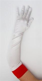 Длинные белые атласные перчатки медсестры