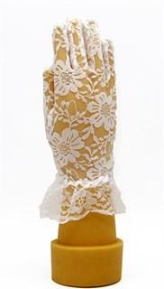 Гипюровые короткие перчатки с рюшей. 6-13 лет. Белые