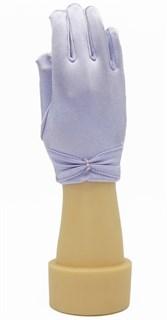 Короткие атласные детские перчатки. 3-7 лет. Сиреневые