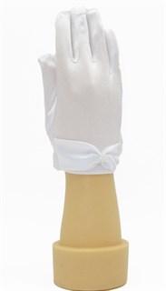 3-7 лет. Короткие атласные детские перчатки. Белые