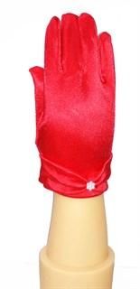 3-7 лет. Короткие атласные детские перчатки. Красные
