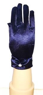 3-7 лет. Короткие атласные детские перчатки. Темно-синие