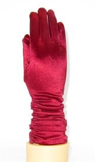 8-13 лет. Атласные детские перчатки 3/4 со сборкой. Бордо